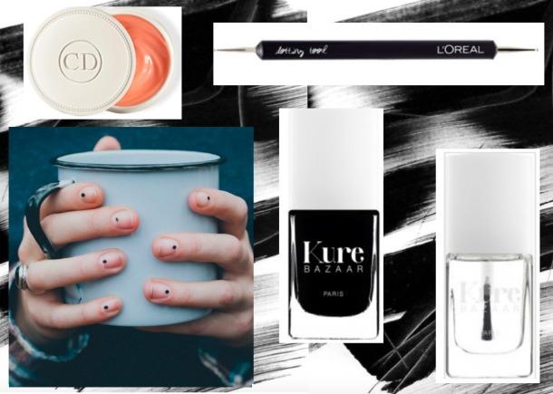 Manicure simple, manicure pois, manicure minimaliste, nail art, ongle pois noir