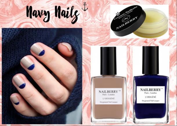 manicure bicolore, manicure nude, manicure marine, nail art facile,
