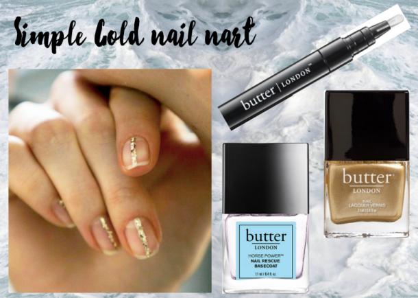 Gold nail art, manicure facile, manicure dorée, nail art